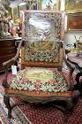 19th C Carved Walnut Throne Chair with Dog and Sheep Needlepoint