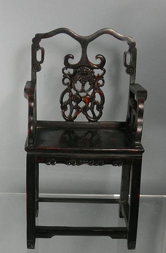 Carved Chinese Hardwood Miniature Chair Display Stand