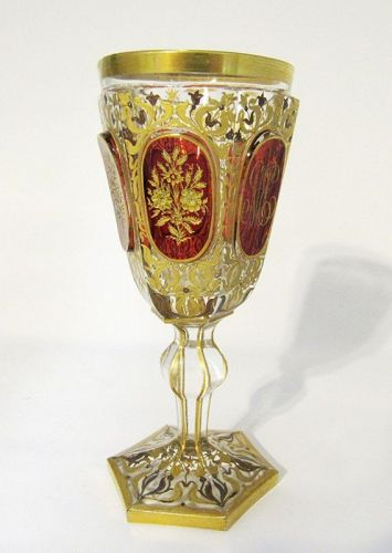 Antique Bohemian Moser Ruby Red with Gold Gilt Engraved Wine Glass