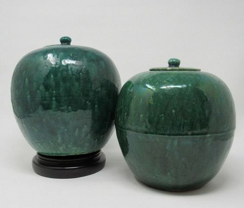 Antique Pair of Chinese Monochrome Green Glazed Ginger Jars