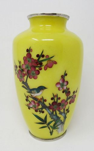 Japanese Silver Wire Cloisonne Vase Yellow Glass Enamel