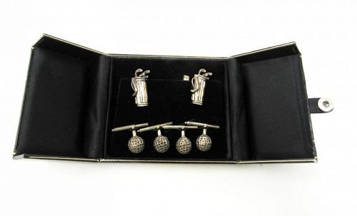 Vintage Sterling Silver Golf Bag Cufflinks with Golf Ball Studs