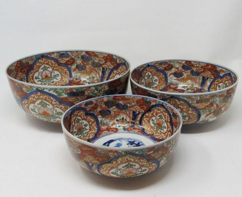 Set of 3 Japanese Arita Imari Porcelain Nesting Bowls, Meiji