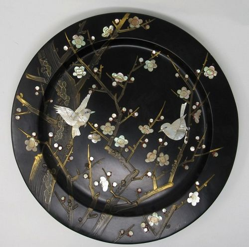 Black Lacquer Mother of Pearl Birds Cherry Blossom Charger Gold Brush