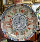 Huge Japanese Ko Imari Porcelain Charger with Scholar Scenes, 19th C