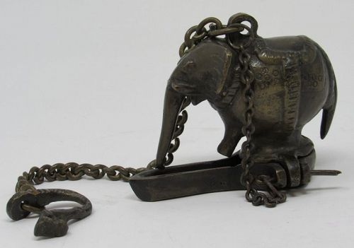 South Asian Cast Bronze Elephant Hanging Oil Lamp
