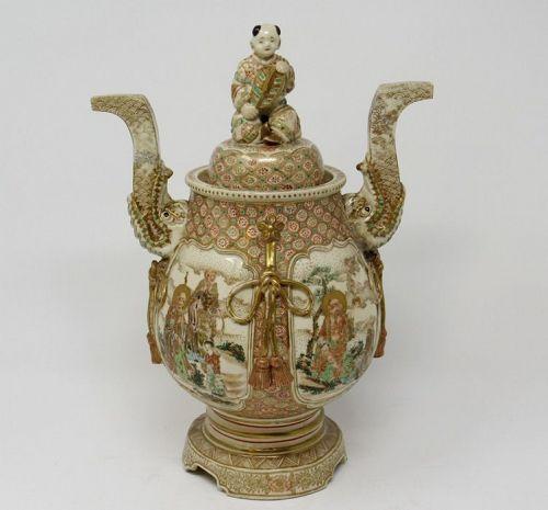 Antique Japanese Satsuma Lidded Jar with Boy, Meiji