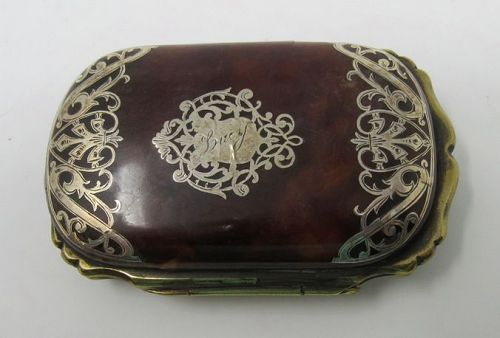Antique Tortoise Shell Sterling Silver Ladies Hinged Sovereign Box