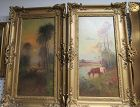 Pair French 19th C Oil on Canvas Painting Sheep Cows, Signed
