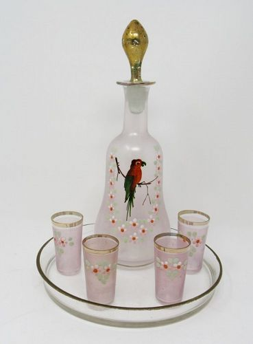 Bohemian Glass Aperitif Cordial Set, Decanter with Parrot, Tray
