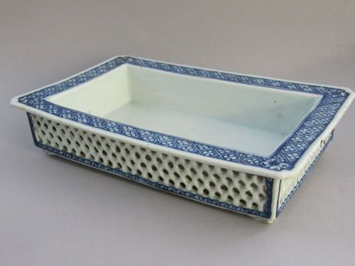 Chinese Porcelain Footed Bulb Planter Underglaze Blue, Qing