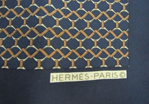 Vintage Men's Hermes-Paris France Silk Pocket Scarf in Blue and Golds