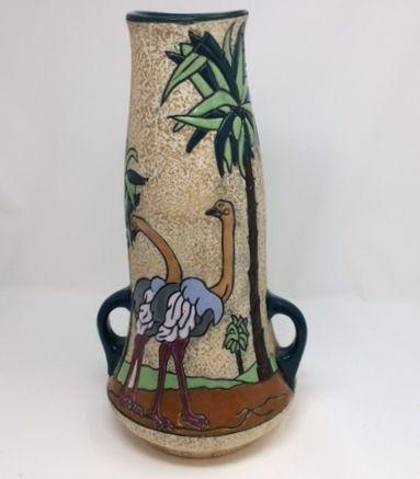 Rare Art Deco Czechoslovakia Amphora Vase with Ostrich Bird