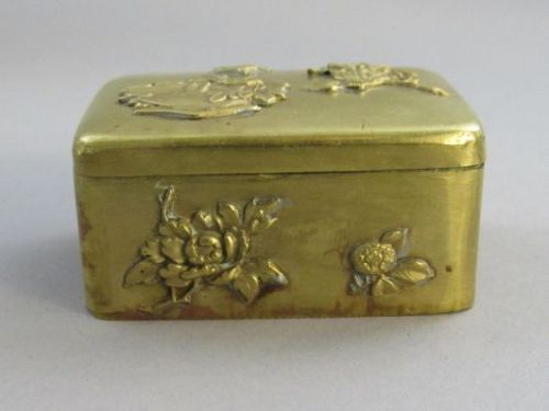 Small Bronze Japanese Hinged Trinket Box with Birds, Taisho
