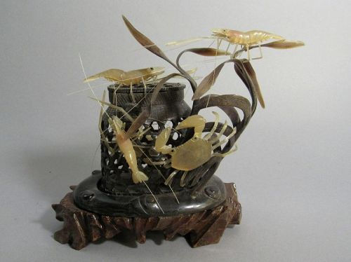 Japanese Horn Carving of Shrimp with Crab Basket Okimono