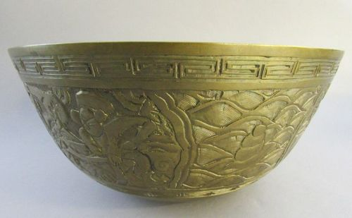 Large Antique Chinese Carved Bronze Bowl with Fish