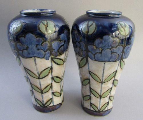 Pair of Royal Doulton Art Deco Floral New Style Vases