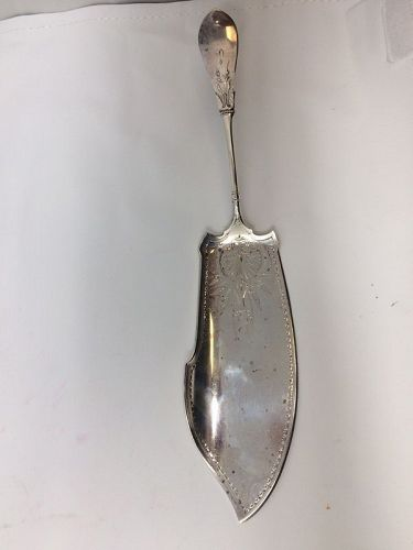 Antique Sterling Silver Gorham Bright Cut Fish Serving Spoon