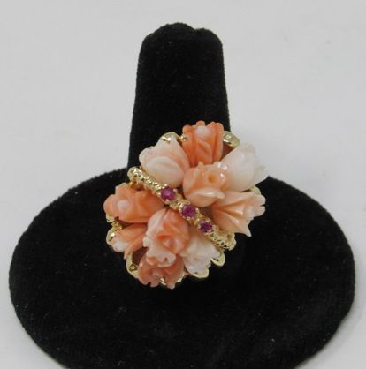 14 Kt Angel Skin and Salmon Carved Roses in Basket with Rubies Ring
