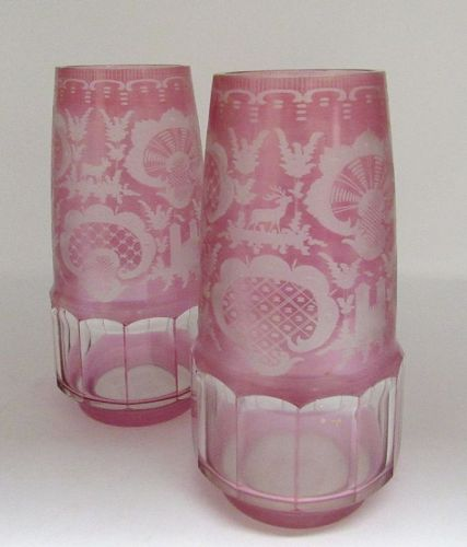 Pair of Red Bohemian Glass Vases with Castle, Crane, Deer