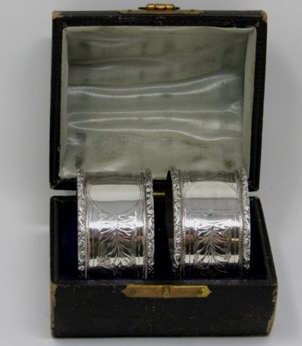 Pair Edwardian English Sterling Silver Napkin Rings in Original Box