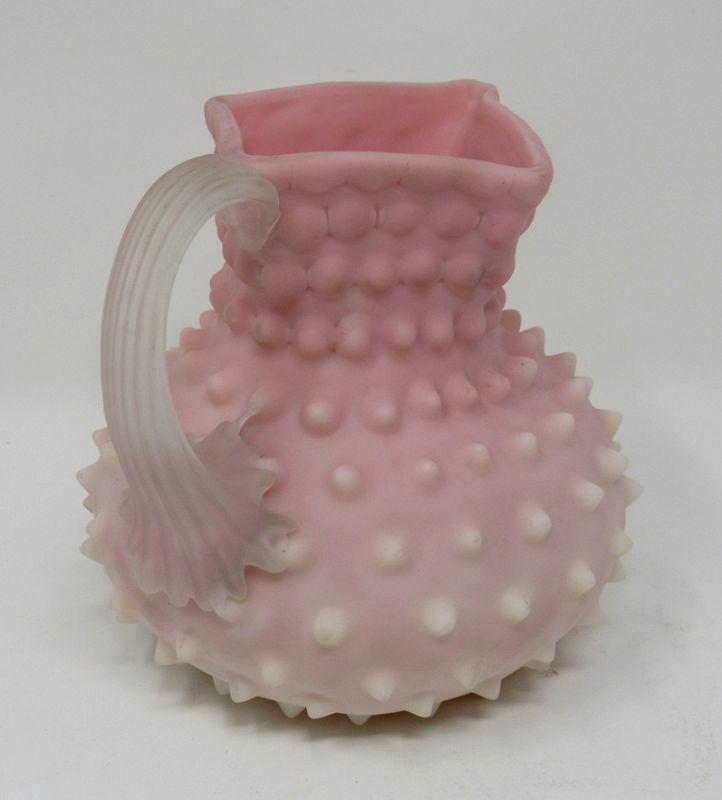 19th C Phoenix Art Glass Burmese Sandwich Peachblow Pitcher Vase