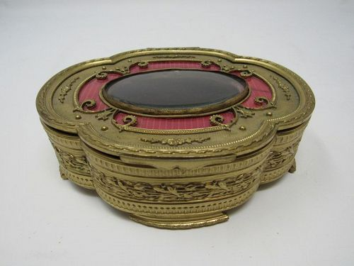 Antique French Footed Bronze Dore Jewelry Trinket Box