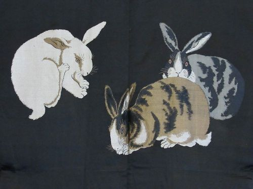 Old Japanese Men's Black Silk Haori with Three Woven Rabbits