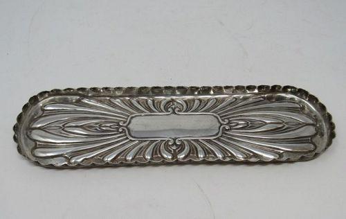 Antique English Sterling Silver Desk Pen Tray London