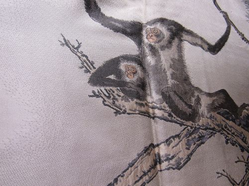 Old Japanese Men's Silk Haori Jacket with Woven Monkey Family