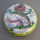 Old Round Chinese Canton Enamel Box with Dragon