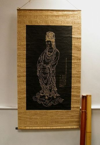 Chinese Stele Stone Ink Rubbing Scroll Quan Yin with Calligraphy