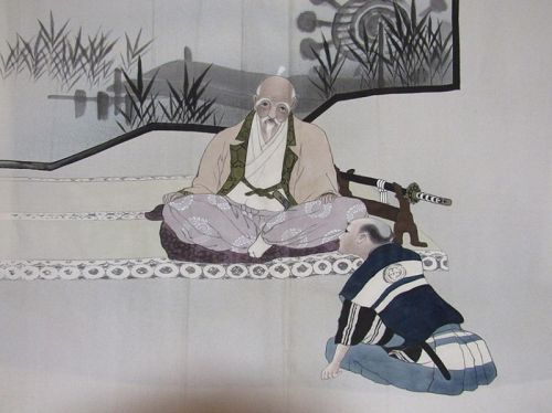 Japanese Men's Silk Haori with Painting of Samuri Teacher with Student