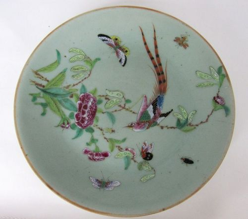 Large Chinese Celadon Porcelain Plate with Insects, Tongzhi MK