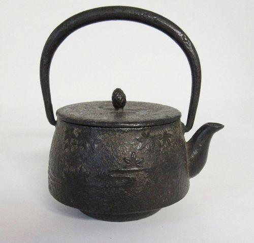 Small Japanese Iron Tetsubin w Maple Leaves, Stream, Meiji