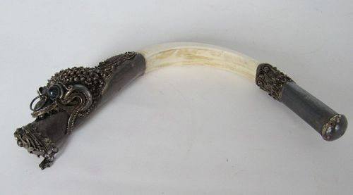 Rare Sterling Silver Dragon Boar Tusk Opium Pipe