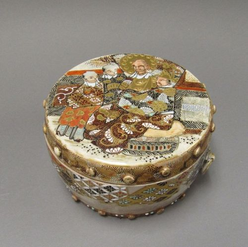 Antique Japanese Satsuma Drum Form Box and Cover Meiji