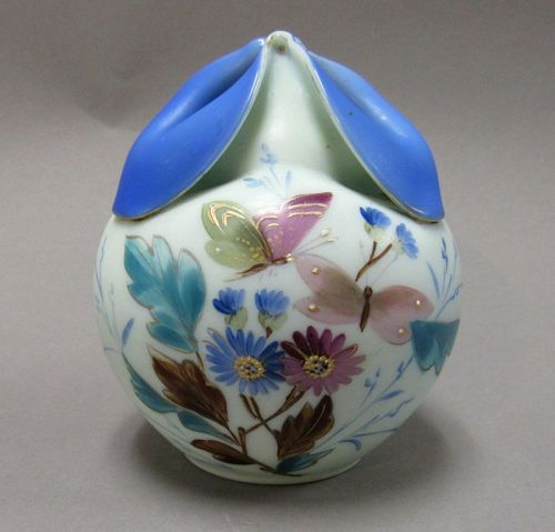 Rare Old Cased Satin Glass Rose Bowl Vase with Butterflies