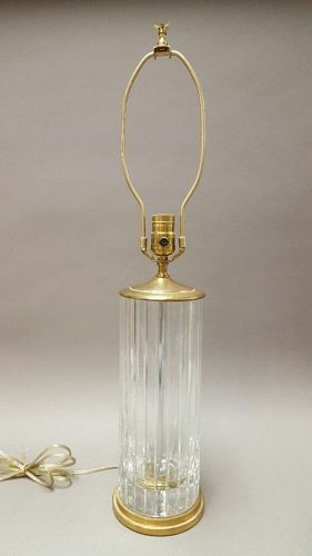Mid-Century Baccarat Crystal Table Lamp with Brass Fittings