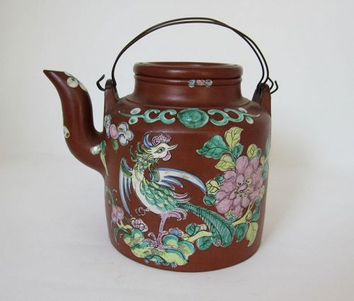 Qing Dy Yixing Red Stoneware Teapot with Enameled Phoenix