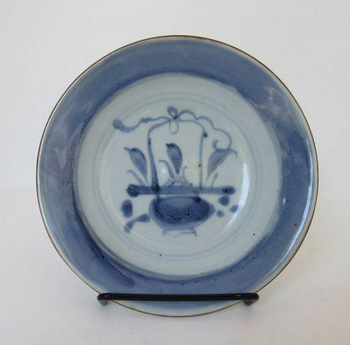 Chinese Underglazed Blue Porcelain Dish with Flower Basket, Ming