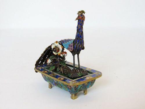 Chinese Silver, Gold Enamel Cloisonne Peacock Bird Figurine