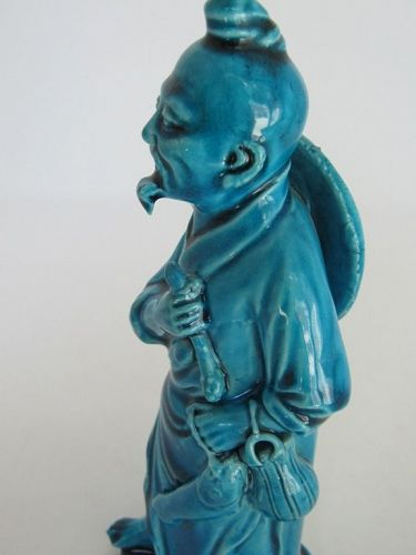 Chinese Porcelain Turquoise Glaze Figurine, Man with Fish