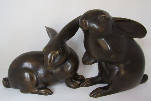 Pair of Large Japanese Metal Bronze Rabbits, 20th C