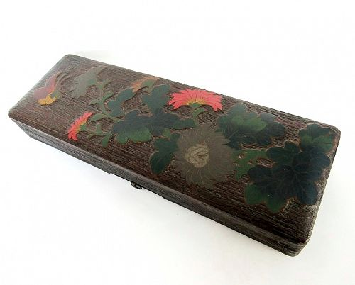 Rare Japanese Wood Lacquer Totai Cloisonne Document Box
