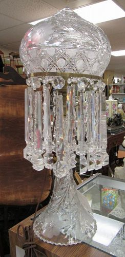 American Brilliant Cut Glass Table Lamp with Crystals