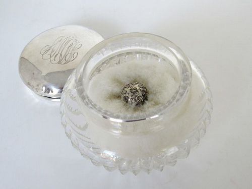 American Brilliant Cut Glass Dresser Box with Swan Down Powder Puff