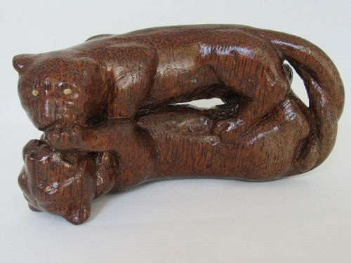 Old Southeast Asian Carved Red Palm Wood Panther Statue