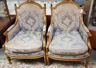 Pair Antique Gold Gilded Wood and Upholstered French Arm Chairs