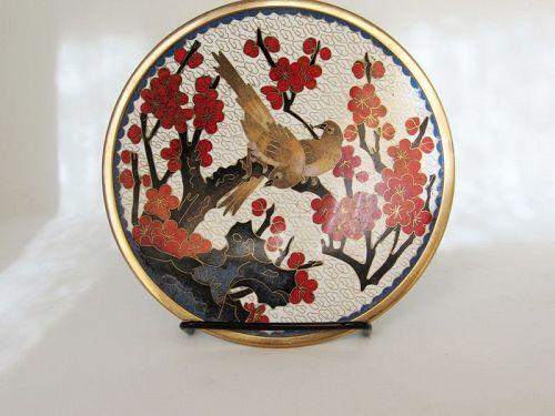 Chinese Cloisonne Dish with Birds and Plum Flowers